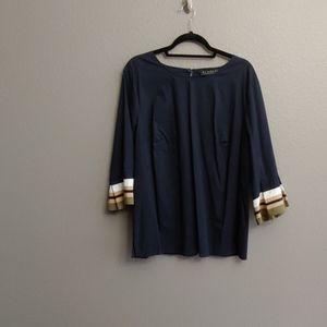 Bell sleeve navy top